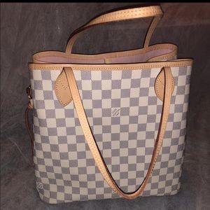 Louis Vuitton Neverfull Mm Tote Bag Damier Azur
